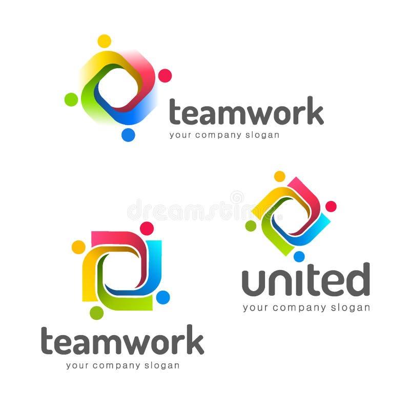 Het vectormalplaatje van het embleemontwerp groepswerk vennootschap Vriendschap eenheid royalty-vrije illustratie