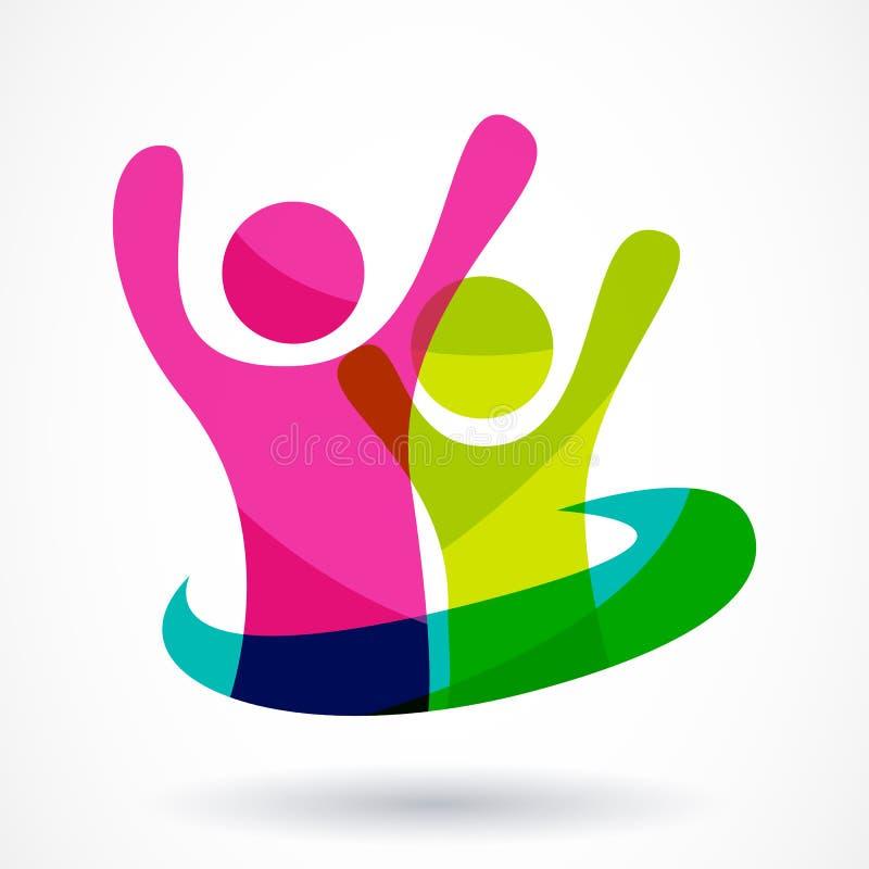 Het vectormalplaatje van het embleemontwerp Kleurrijke abstracte gelukkige mensenillu vector illustratie