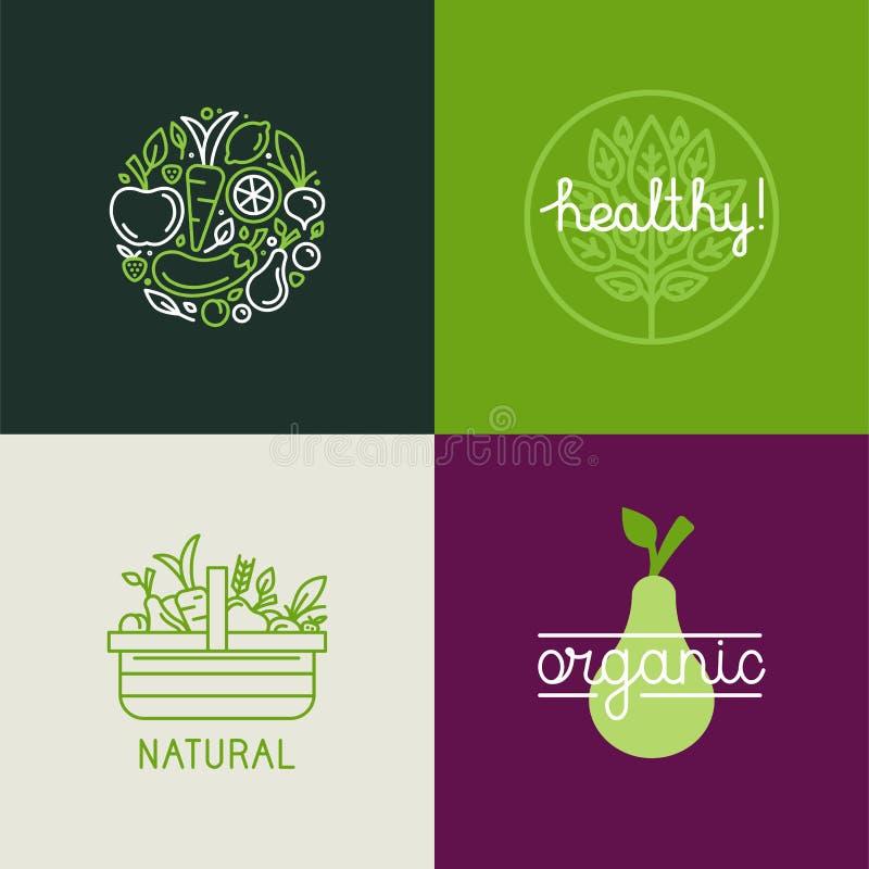Het vectormalplaatje van het embleemontwerp met fruit en plantaardige pictogrammen in RT stock illustratie