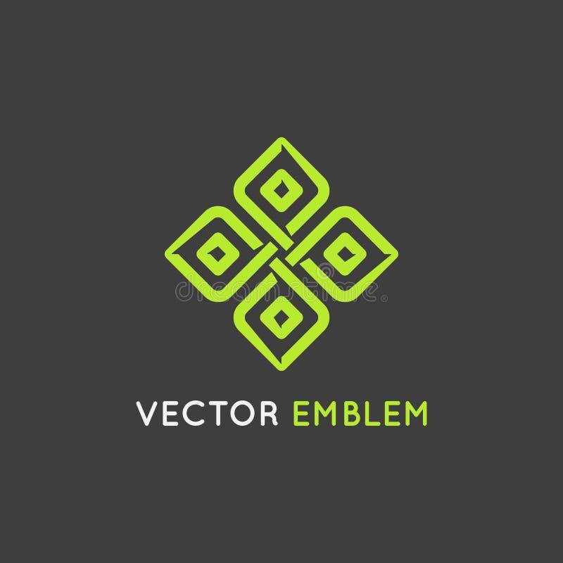 Het vectormalplaatje van het embleemontwerp - schoonheid en organisch concept stock illustratie