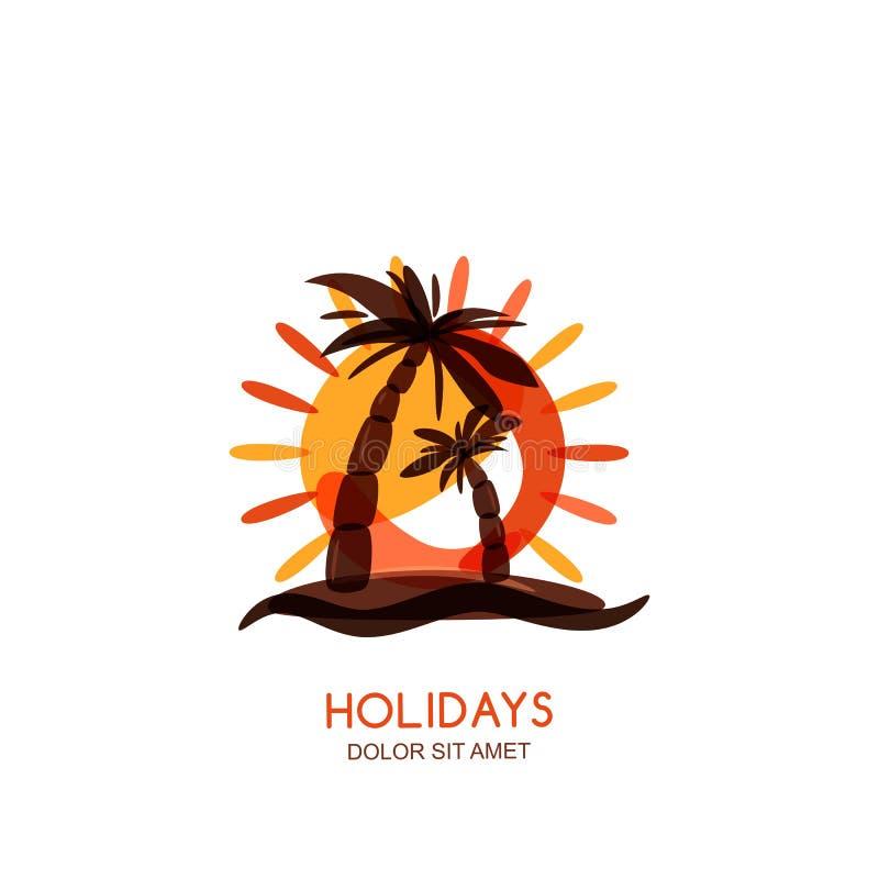 Het vectormalplaatje van het embleemontwerp Tropische eiland, palmen en zonsondergang op kust vector illustratie