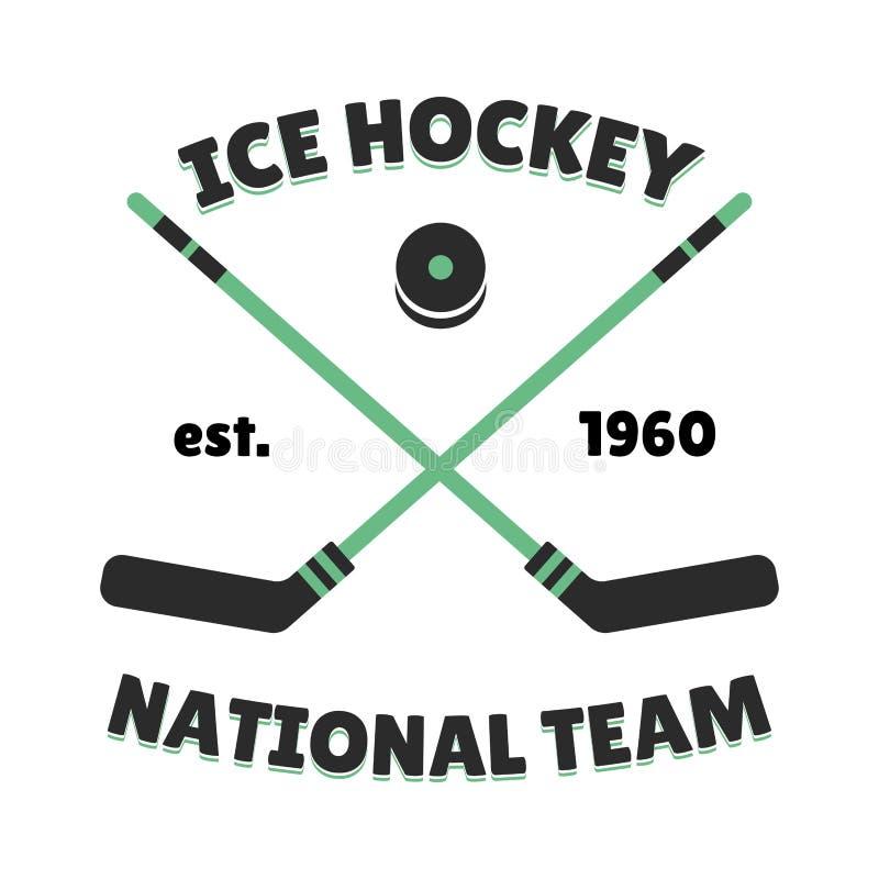 Het vectormalplaatje van het hockeyetiket voor sportteam met grafische de concurrentie van het pucksymbool royalty-vrije illustratie
