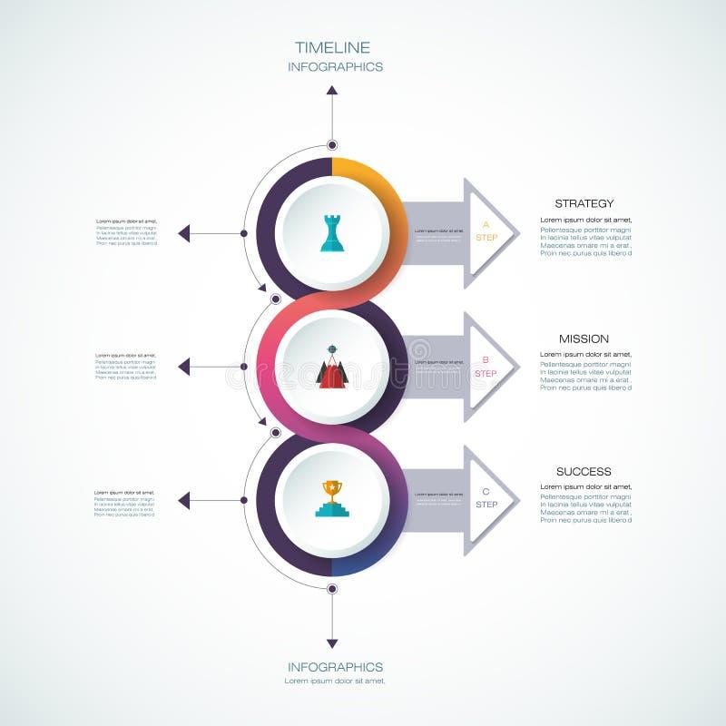 Het vectormalplaatje van het infographicsontwerp met 3D document etiket royalty-vrije illustratie