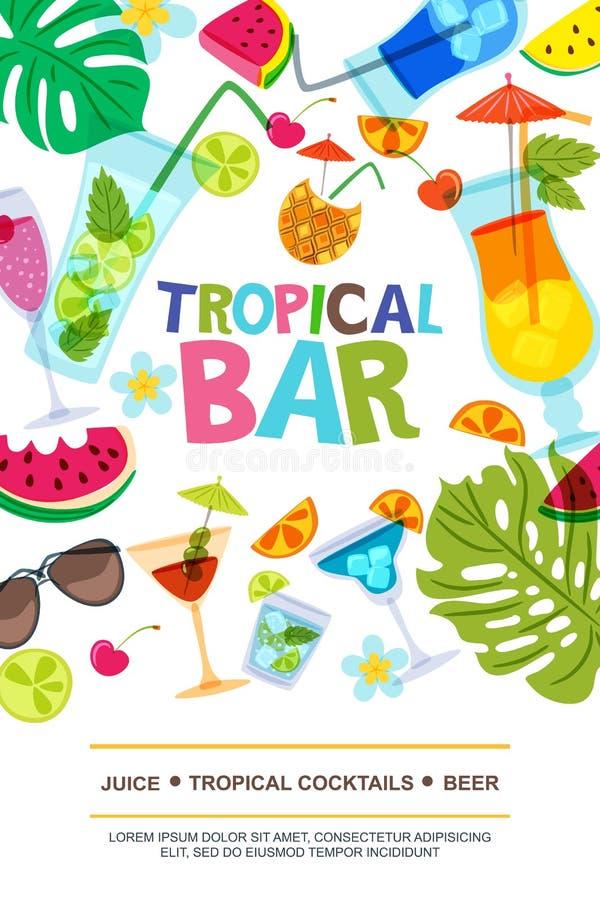 Het vectormalplaatje van het menuontwerp voor strandbar Zon, palmbladen, watermeloen en van de cocktailskrabbel illustratie royalty-vrije illustratie