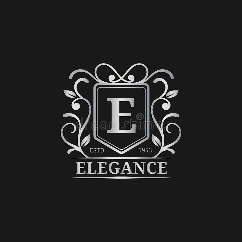 Het vectormalplaatje van het monogramembleem Het ontwerp van de luxebrief Bevallige uitstekende karakterillustratie Gebruikt voor stock illustratie