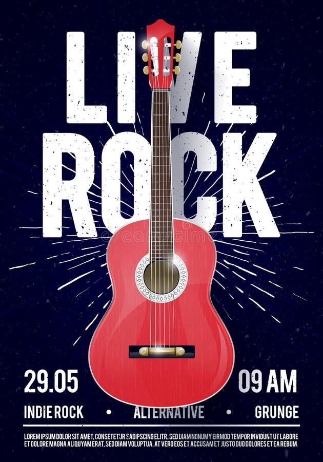 Het vectormalplaatje van Illustratie Mooie Live Classic Rock Music Poster Voor Overlegbevordering in Clubs, Bars, Bars en Openbar vector illustratie