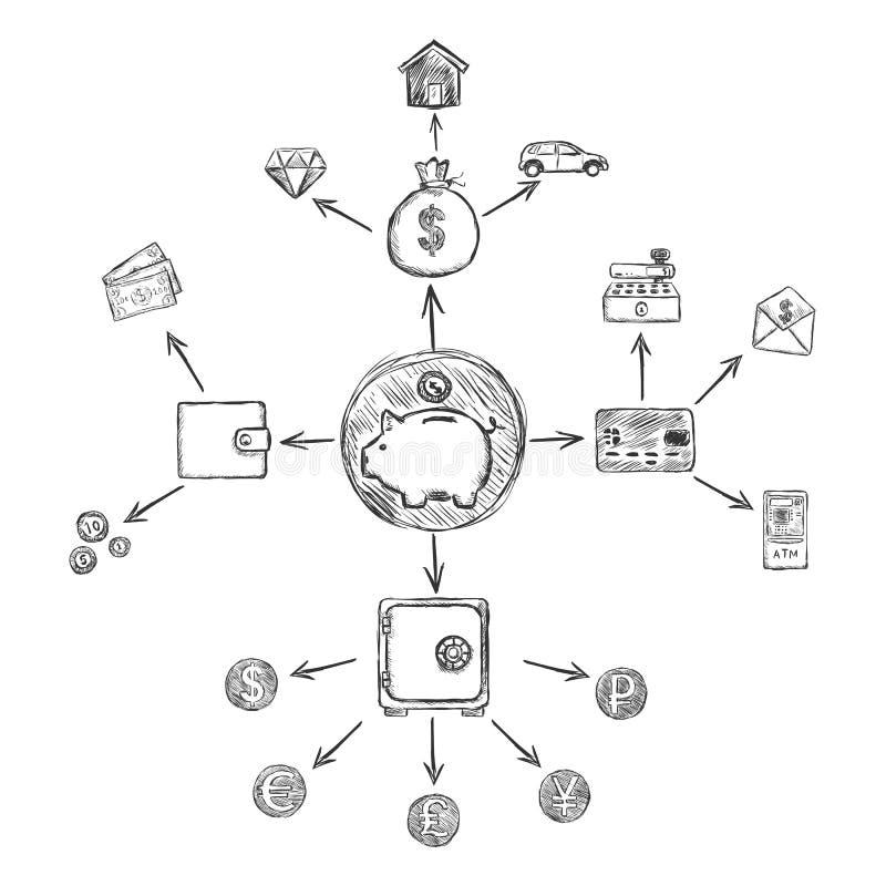 Het vectormalplaatje van Infographic van Schetsfinanciën royalty-vrije illustratie