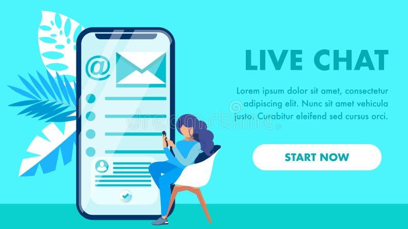 Het Vectormalplaatje van Live Chat Website Landing Page royalty-vrije illustratie