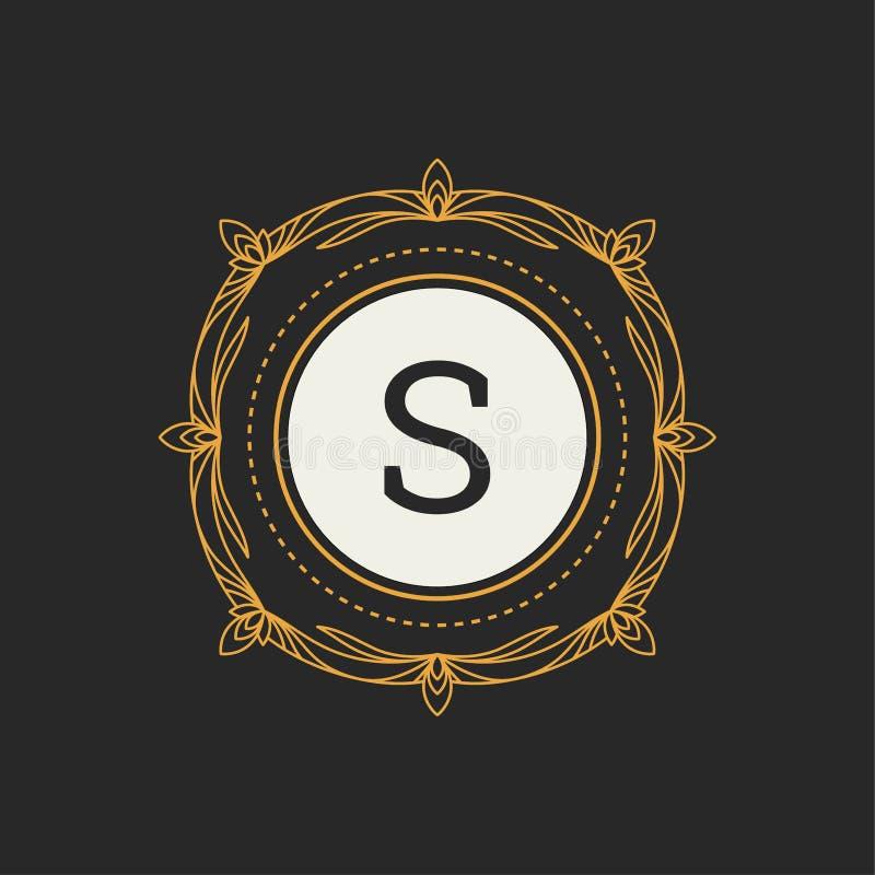 Het vectormalplaatje van het luxeembleem voor Restaurant, Royalty, Boutique, Koffie, Heraldisch Hotel, Juwelen, Manier Brief s Bl stock illustratie