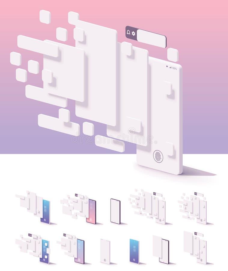 Het vectormalplaatje van het mobiele toepassinggebruikersinterface royalty-vrije illustratie