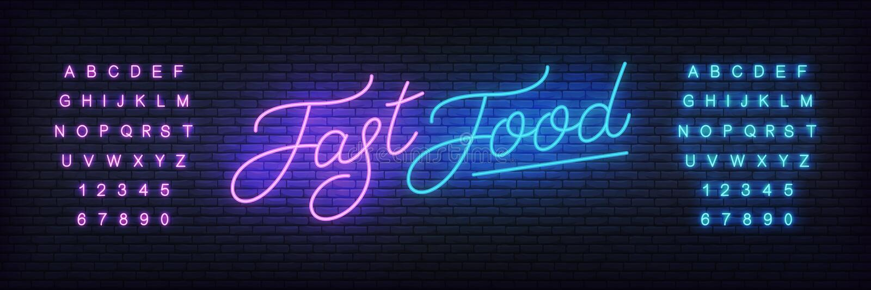 Het vectormalplaatje van het snel voedselneon Gloeiend nacht helder van letters voorziend teken voor Snel voedselkoffie, restaura royalty-vrije illustratie