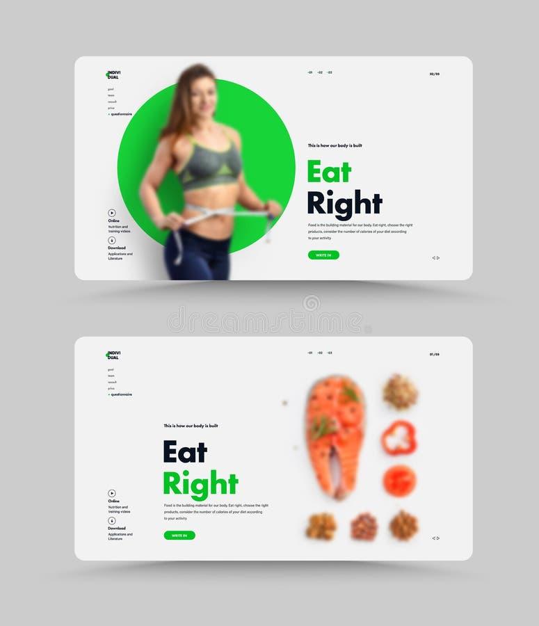 Het vectormalplaatje van het website eerste scherm voor juiste voeding, trainer of voedingsdeskundige stock illustratie