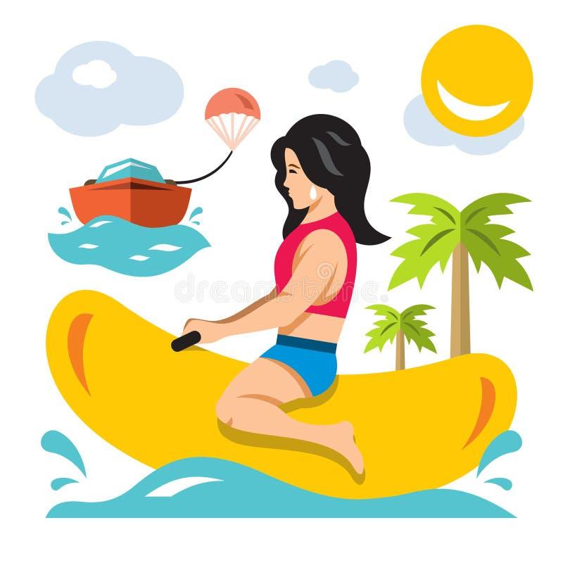 Het vectormeisje berijdt een Banaanboot De vlakke illustratie van het stijl kleurrijke Beeldverhaal stock illustratie