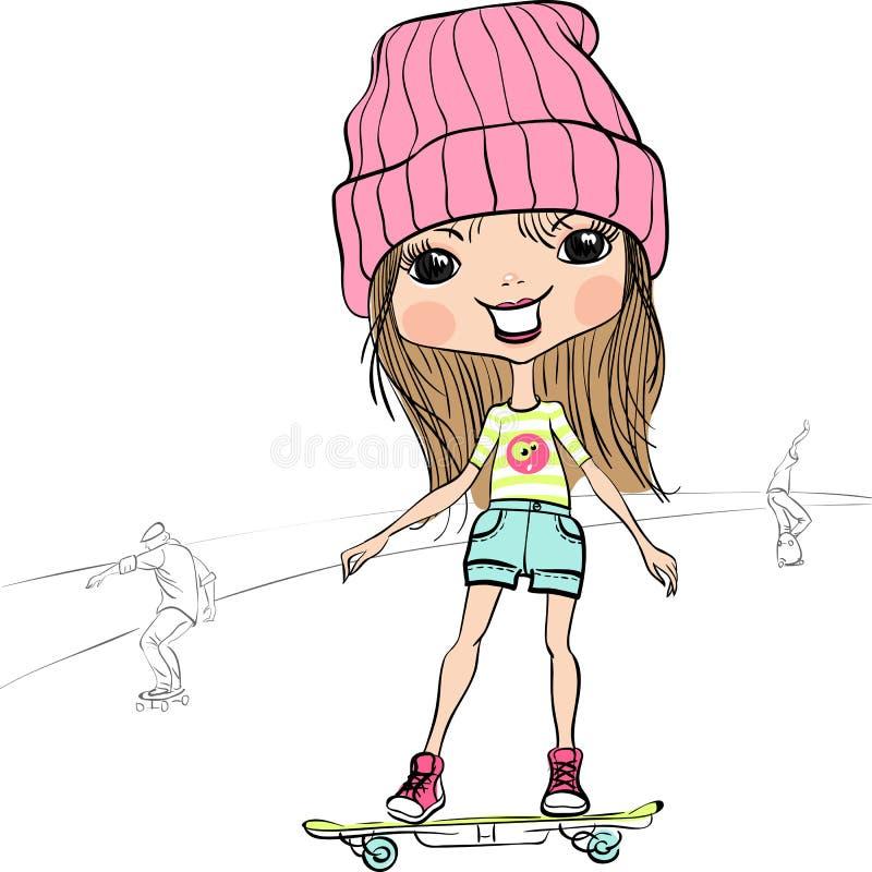 Het vectormeisje van de manier hipster baby op het skateboard stock illustratie