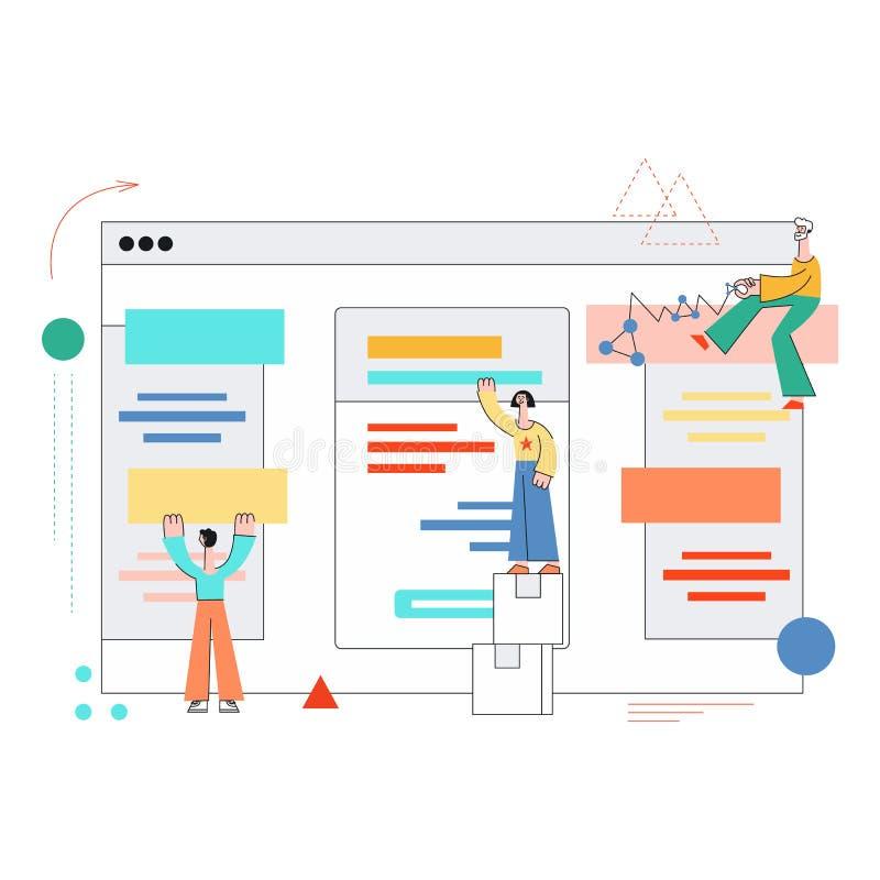 Het vectormeisje van de mobiele toepassingenontwikkeling, mensenlaptop stock illustratie
