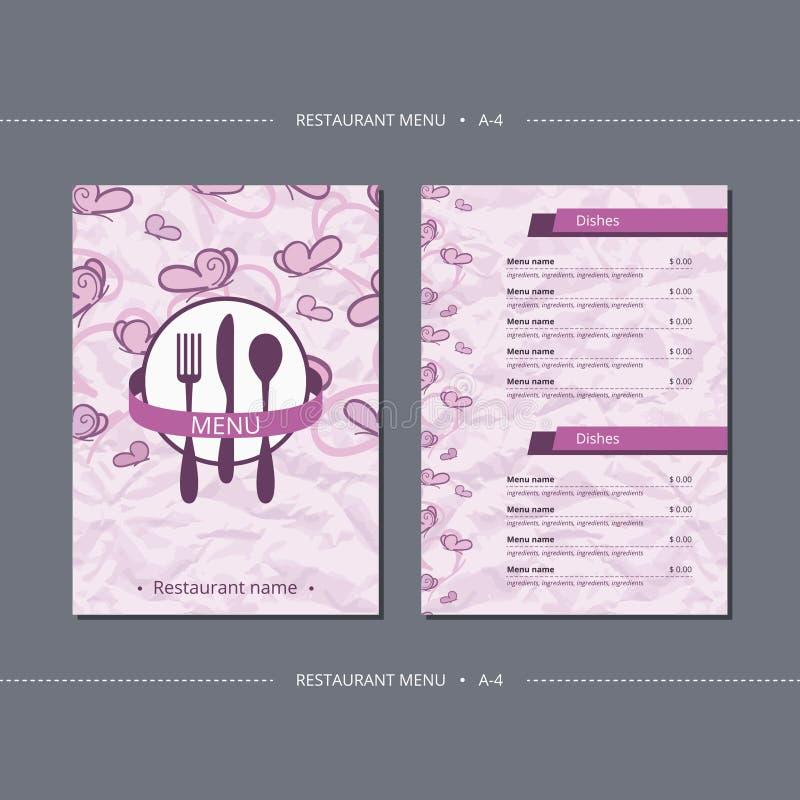 Het vectormenu van het malplaatjerestaurant met roze vlinder vector illustratie