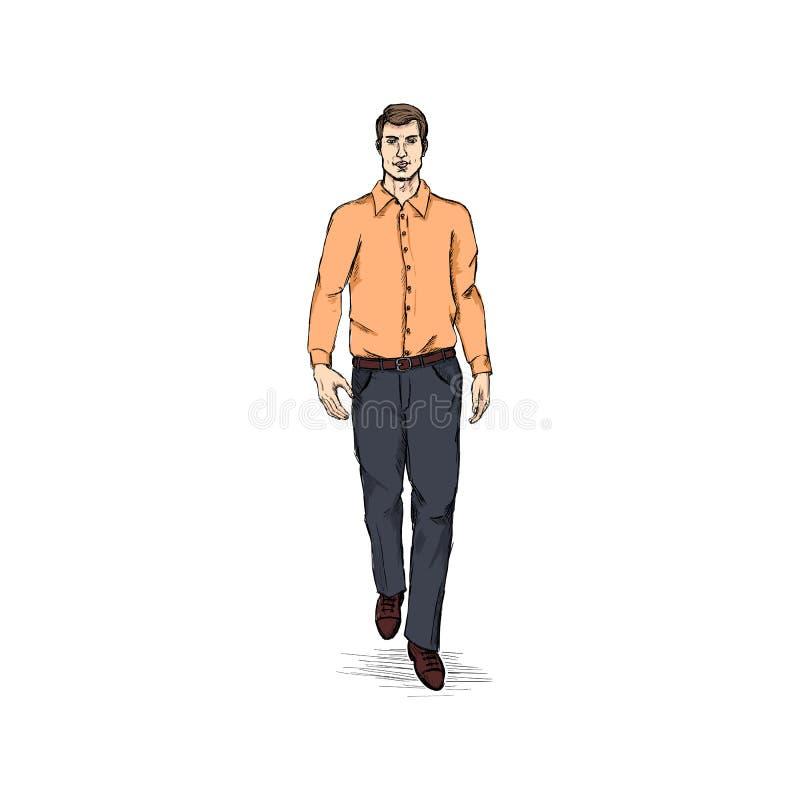 Het vectormodel van Schetsmensen in Lange Kokeroverhemd en Broeken Bedrijfskledingscode stock illustratie
