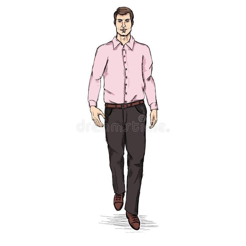 Het vectormodel van Schetsmensen in Lange Kokeroverhemd en Broeken Bedrijfskledingscode vector illustratie