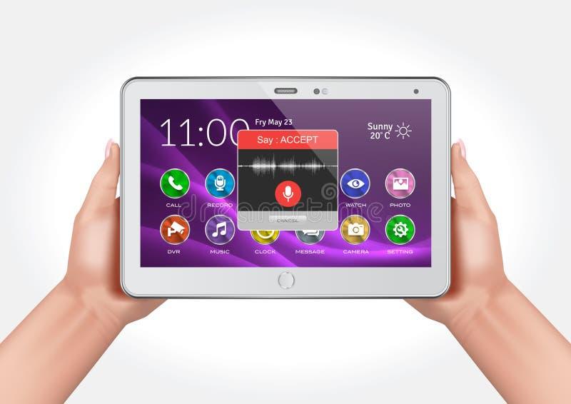 Het vectorontwerp die handen tonen die een multifunctionele tablet met stem houden activeerde toepassingsmedewerker royalty-vrije illustratie