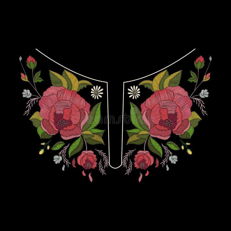 Het vectorontwerp van de borduurwerkhalslijn voor manier Bloemen en bladerenhalsdruk Borst geborduurde versiering stock illustratie