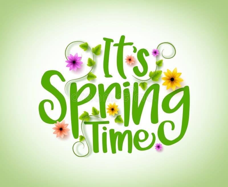 Het Vectorontwerp van de de lentetijd met 3D Realistische Verse Installaties en Bloemenelementen vector illustratie