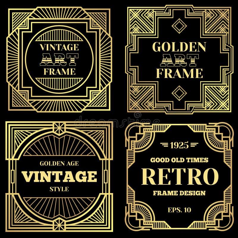 Het vectorontwerp van de luxeaffiche met gouden kaders in art deco oude klassieke stijl stock illustratie