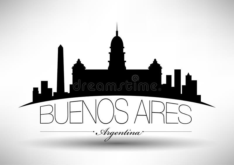 Het vectorontwerp van de de Stadshorizon van Buenos aires vector illustratie