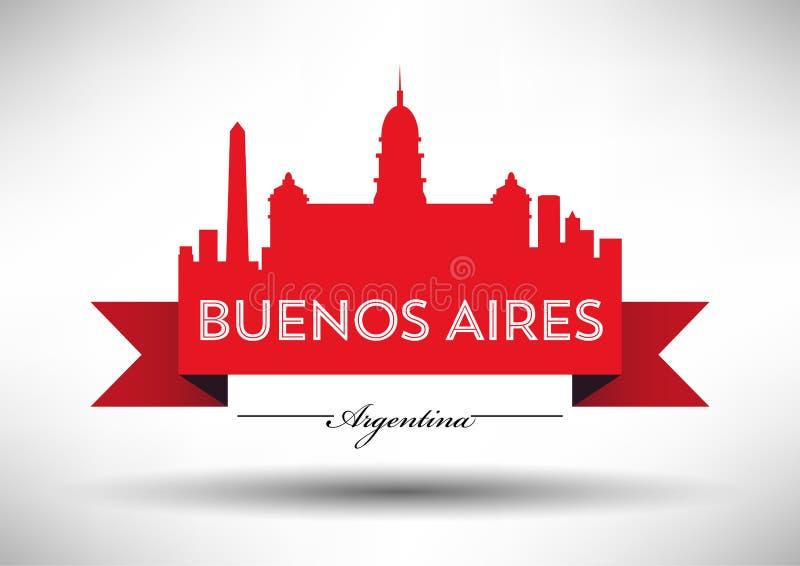 Het vectorontwerp van de de Stadshorizon van Buenos aires royalty-vrije illustratie