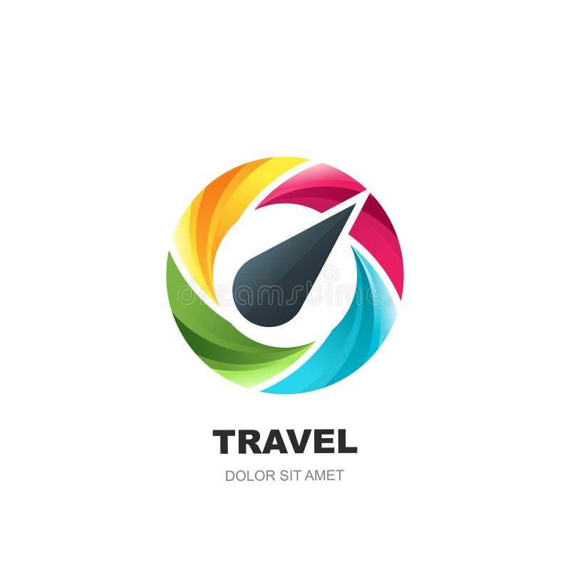 Het vectorontwerp van het embleempictogram met veelkleurig dynamisch roterend kompas Concept voor reis, reisonderzoek en toerisme royalty-vrije illustratie
