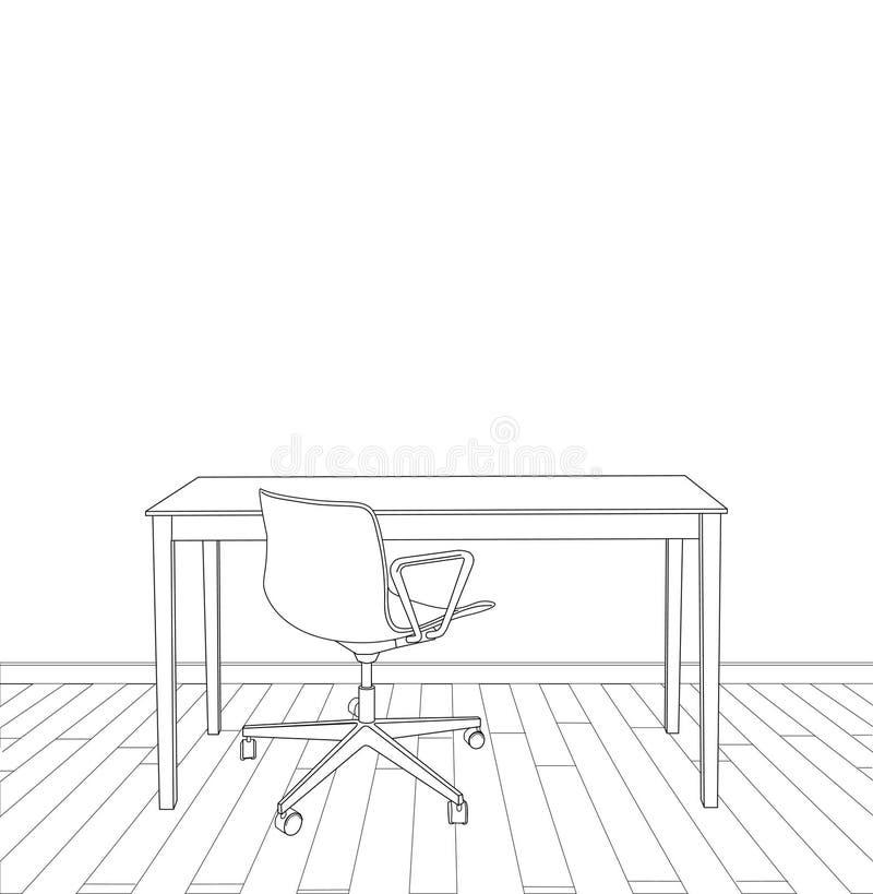 Het vectorontwerp van het illustratie binnenlandse bureau vector illustratie