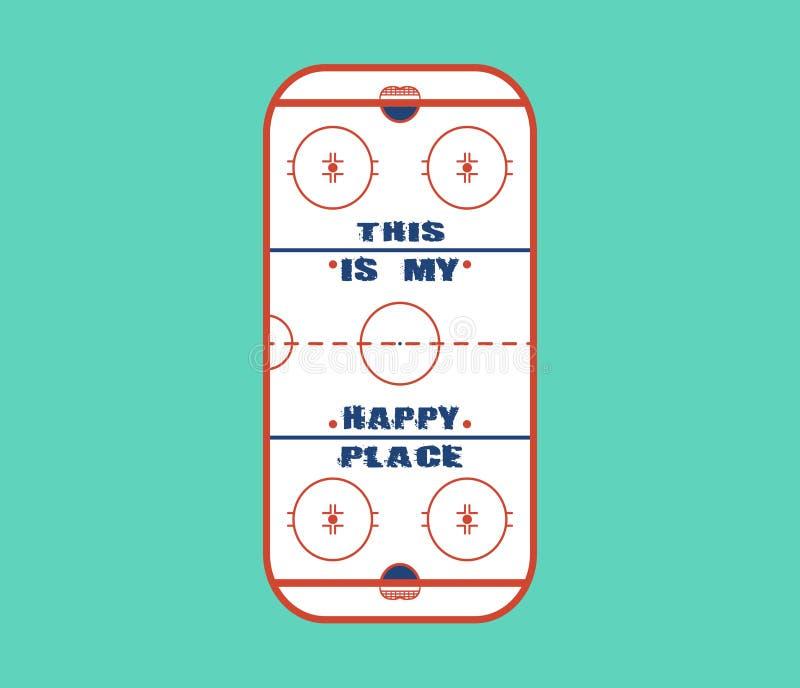 Het vectorontwerp van het ijshockeygebied Dit is mijn gelukkige plaats stock foto's
