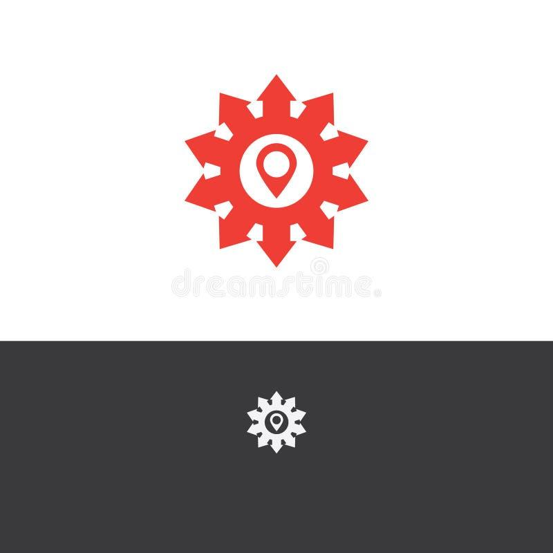 Het vectorontwerp van het illustratieembleem met pijl en plaatspictogram royalty-vrije illustratie