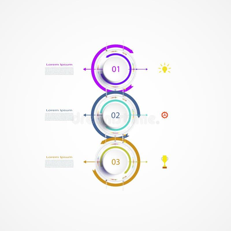 Het vectorontwerp van het infographicsetiket met pictogrammen en 3 opties stock illustratie