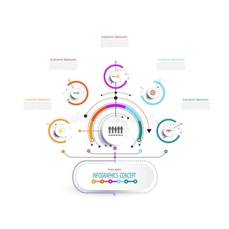 Het vectorontwerp van het infographicsetiket met pictogrammen en 5 opties vector illustratie