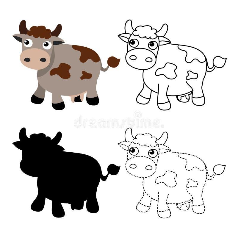 Het vectorontwerp van het koeaantekenvel royalty-vrije illustratie