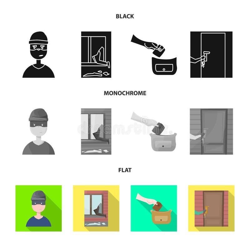 Het vectorontwerp van misdaad en steelt teken Inzameling van misdaad en schurken vectorpictogram voor voorraad vector illustratie