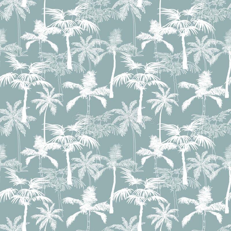 Het vectorontwerp van Palmencalifornië Grey Texture Seamless Pattern Surface met Exotische, Decoratieve, Hand Getrokken Palmen royalty-vrije illustratie