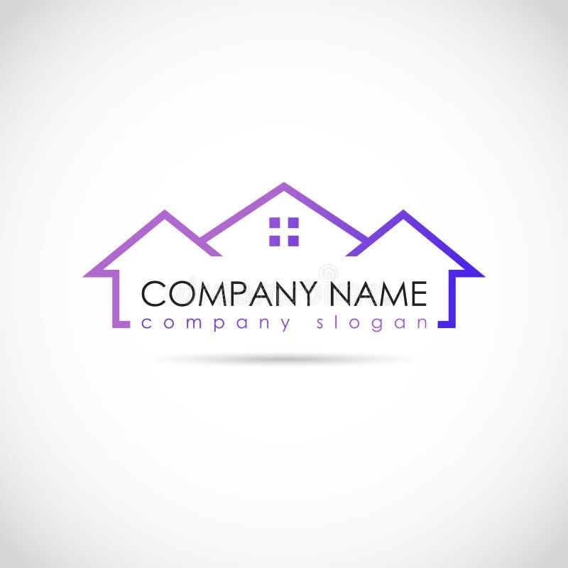 Het vectorontwerp voor uw embleem van het de bouwbedrijf, vat purper pictogram samen Moderne logotype, bedrijfs collectief malpla vector illustratie