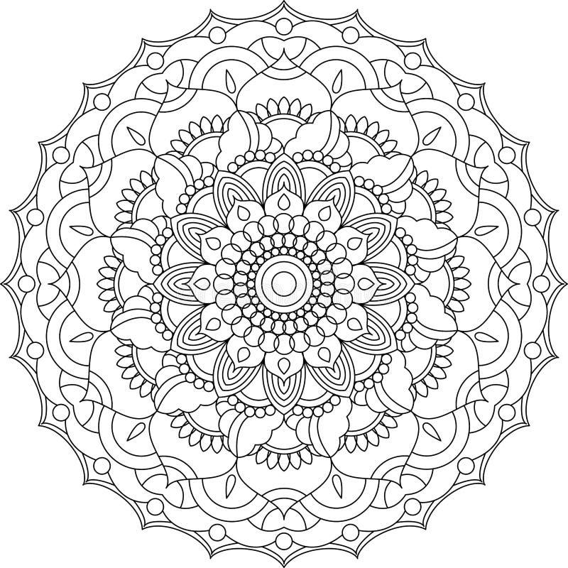 Het vectorornament van contourmandala Oosters rond patroon royalty-vrije stock afbeelding