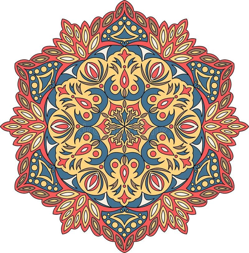 Het vectorornament van contourmandala Oosters rond patroon vector illustratie