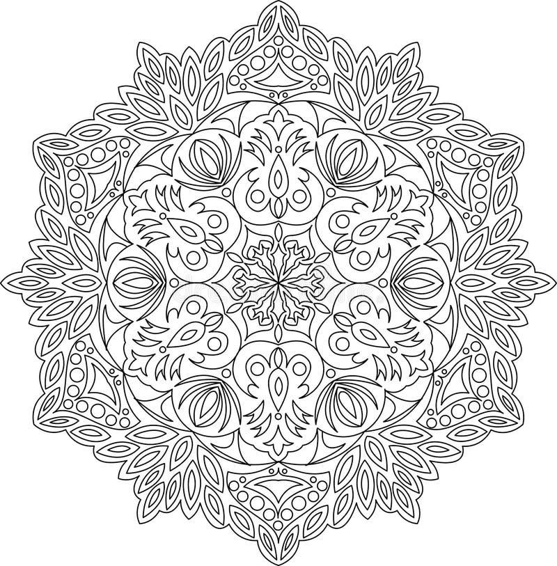 Het vectorornament van contourmandala Oosters rond patroon stock foto's