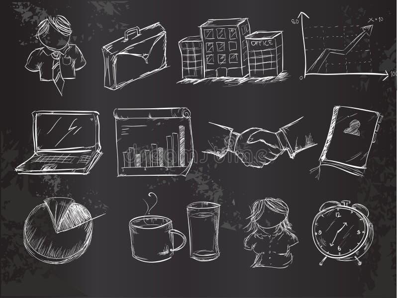 Het vectorpak van het krabbelsbureau op Bord vector illustratie