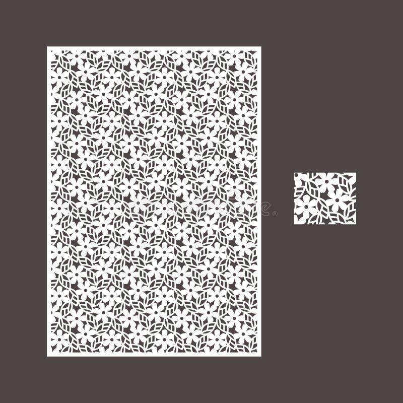 Het vectorpaneel van de laserbesnoeiing en het naadloze patroon voor decoratief paneel royalty-vrije stock fotografie