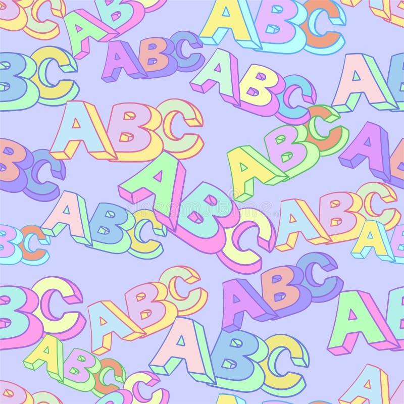 Het vectorpatroon van het Abcsymbool De achtergrond van de jonge geitjesstudie stock illustratie