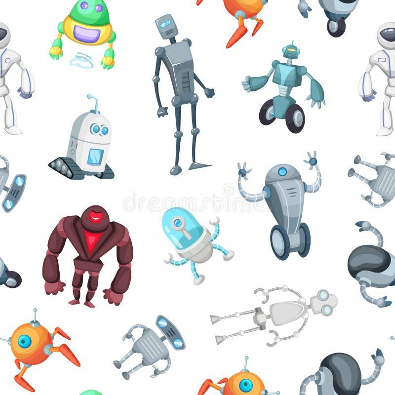 Het vectorpatroon van beeldverhaalrobots of illustratie als achtergrond stock illustratie