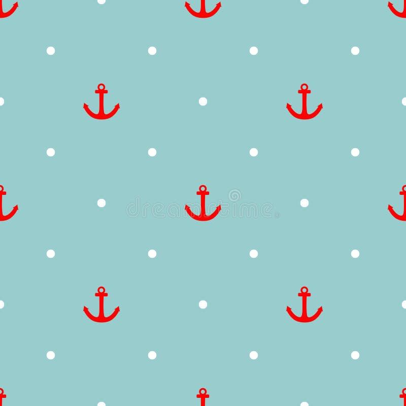 Het vectorpatroon van de tegelzeeman met rood anker en witte stippen stock illustratie