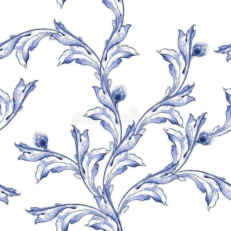 Het vectorpatroon van de waterverf blauwe textuur vector illustratie