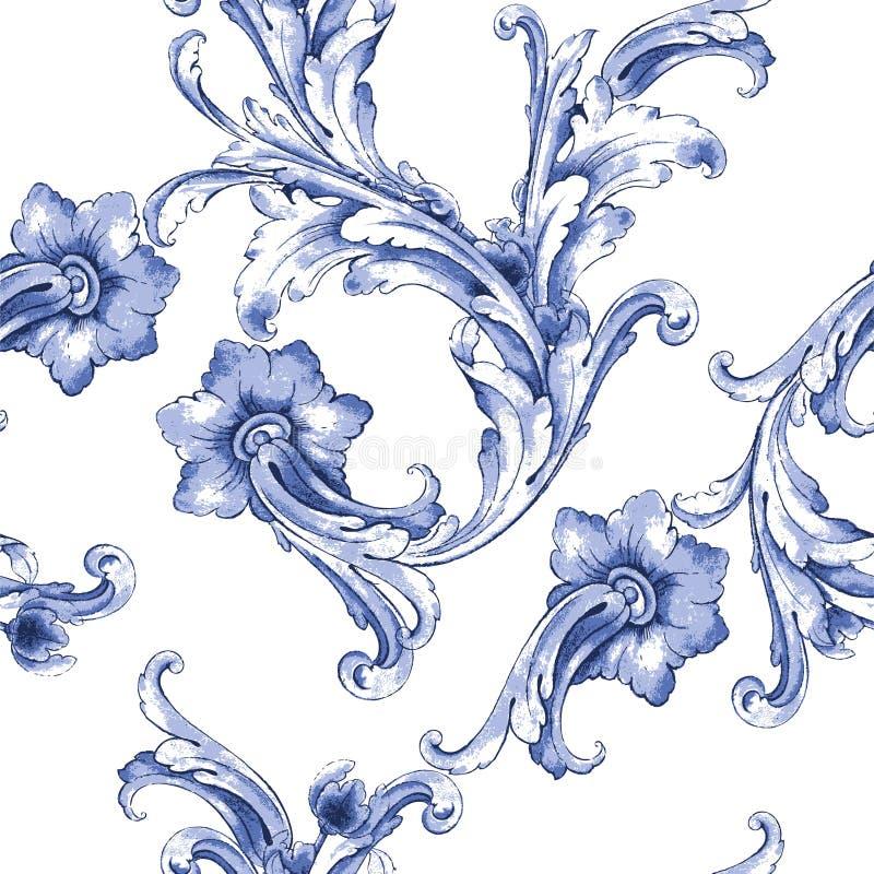 Het vectorpatroon van de waterverf blauwe textuur royalty-vrije illustratie