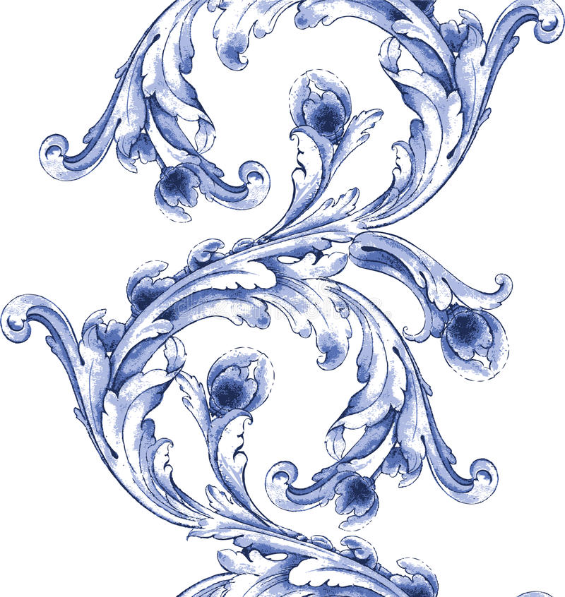 Het vectorpatroon van de waterverf blauwe textuur stock afbeelding