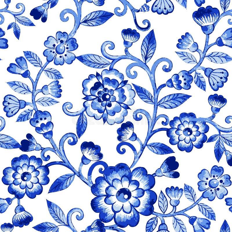Het vectorpatroon van de waterverf blauwe textuur royalty-vrije stock foto's